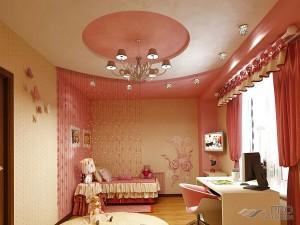 Как оформить потолок в детской комнате для девочки