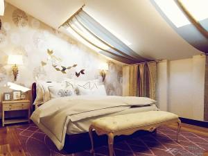 Как обыграть комнату со скошенным потолком?